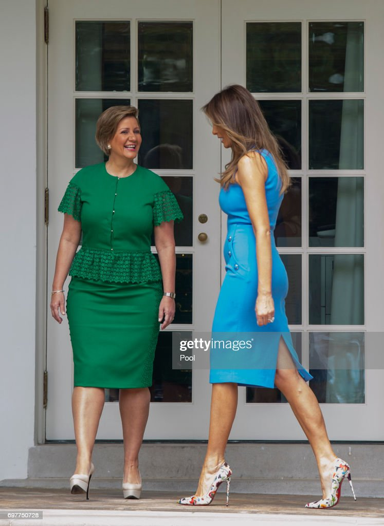 Lorena Castillo, Panama's President Juan Carlos Varela's wife, and first lady Melanie Trump stand outside the Oval Office after the arrival of President Varela and Lorena Castillo, at the White House on June 19, 2017 in Washington, DC. According to the White House, the two presidents will talk about how to curb 'transnational organized crime, illegal migration, and illicit substances' and the continued political and economic instability in Venezuela.