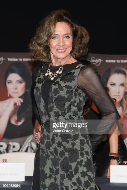 Lorena Herrera attends a press conferenc to promote the theater play Las Arpias at El Telon de Asfalto on July 3 2018 in Mexico City Mexico