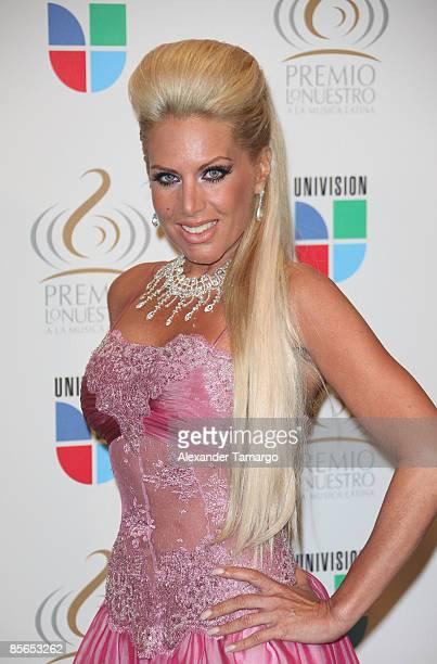 Lorena Herrera poses in the press room at Univision's ''Premio Lo Nuestro a La Musica Latina'' Awards at Bank United Center on March 26 2009 in Coral...