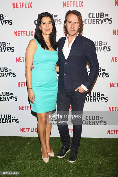 Lorena Marin and Carlos Gascon attend the Club De Cuervos premiere red carpet at Museo Soumaya on August 3 2015 in Mexico City Mexico
