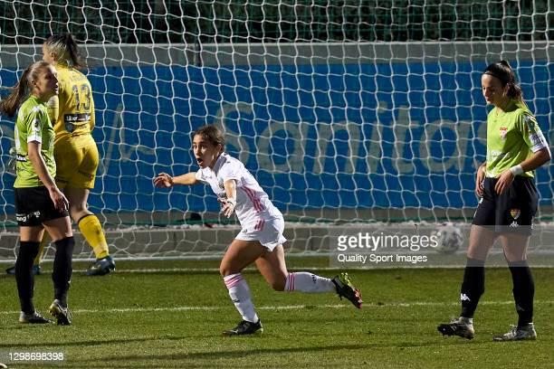 Lorena Navarro of Real Madrid Women celebrates after scoring his team's first goal during the Primera Division Femenina match between Real Madrid...