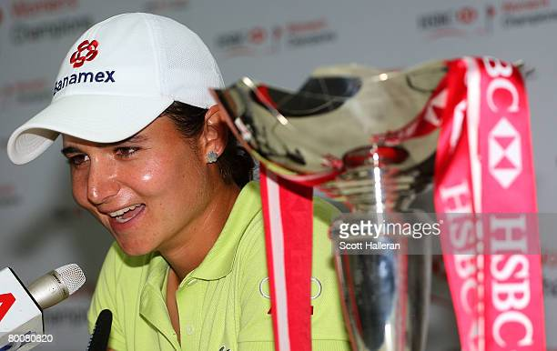 Lorena Ochoa of Mexico chats with the media after winning the HSBC Women's Champions at Tanah Merah Country Club on March 2 2008 in Singapore