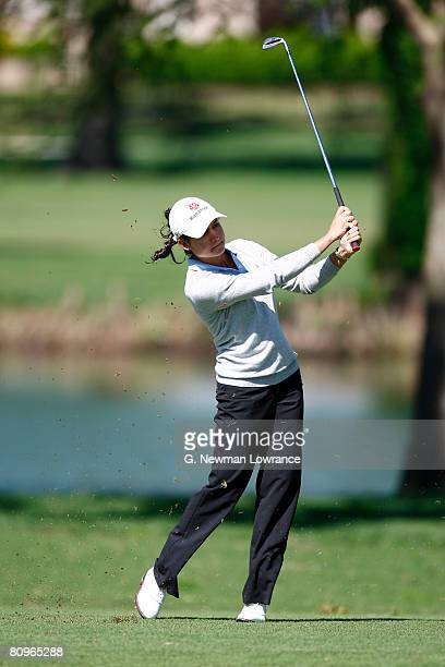 Lorena Ochoa of Mexico hits a shot on the 7th hole during the second round of the SemGroup Championship presented by John Q Hammons on May 2 2008 at...