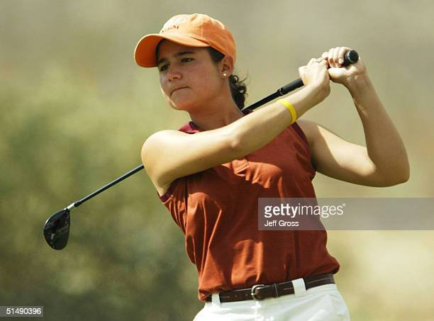 Lorena Ochoa of Mexico hits a tee shot on the fifth hole during the final round of the LPGA Samsung World Championship on October 17, 2004 at the Big...