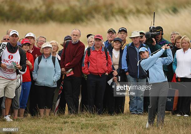 Lorena Ochoa of Mexico hits her second shot on the 15th hole during the second round of the 2009 Ricoh Women's British Open Championship held at...