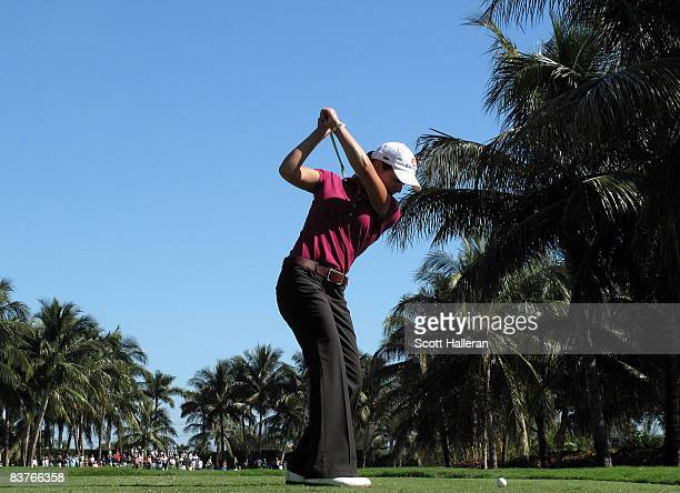 Lorena Ochoa of Mexico hits her tee shot on the fifth hole during the first round of the ADT Championship at the Trump International Golf Club on...