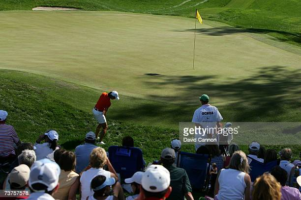 Lorena Ochoa of Mexico hits her third shot and fails to move the ball from the deep rough behind the green at the par 3 17th hole where she...