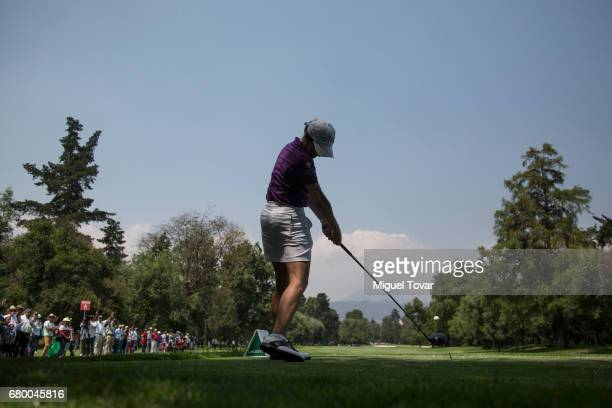 Lorena Ochoa of Mexico plays her drive during the final round of the Citibanamex Lorena Ochoa Match Play Presented by Aeromexico and Delta at Club De...