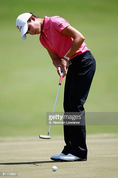 Lorena Ochoa of Mexico putts during the final round of the SemGroup Championship presented by John Q Hammons on May 4 2008 at Cedar Ridge Country...
