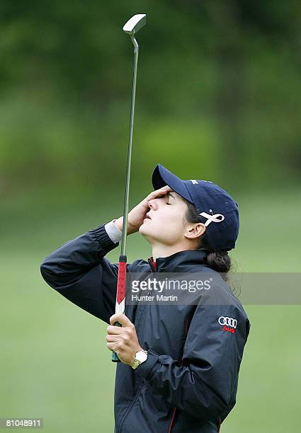 Lorena Ochoa of Mexico reacts after missing her birdie putt on the 6th hole during the third round of the Michelob Ultra Open at Kingsmill Resort Spa...