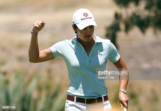 Lorena Ochoa of Mexico reacts after sinking an eagle putt on the fifth green during the first round of the Corona Championship April 10 2008 at Tres...