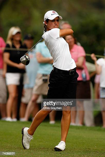 Lorena Ochoa of Mexico tees off on the 9th hole during the final round of the SemGroup Championship presented by John Q Hammons on May 6 2007 at...