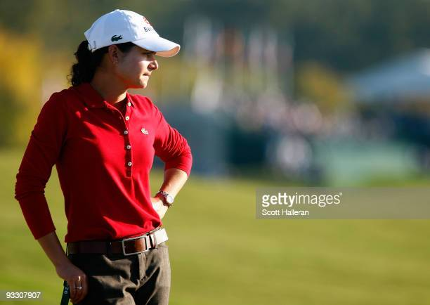 Lorena Ochoa of Mexico waits on the tenth green during completion of the weatherdelayed second round of the LPGA Tour Championship presented by Rolex...