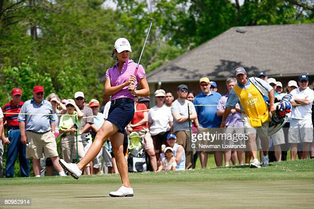 Lorena Ochoa of Mexico watches a putt on the 14th hole during the first round of the SemGroup Championship presented by John Q Hammons on May 1 2008...