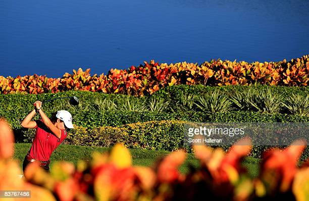 Lorena Ochoa of Mexico watches her tee shot on the 18th hole during the first round of the ADT Championship at the Trump International Golf Club on...