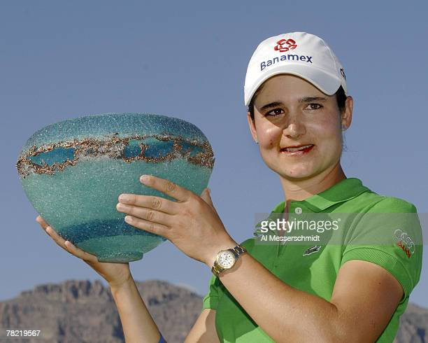 Lorena Ochoa poses with the trophy after winning the 2007 Safeway International at Superstition Mountain Golf and Country Club March 25 2007 in...