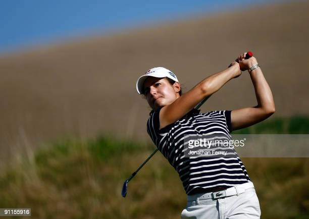 Lorena Ochoa tees off on the 16th hole during the second round of the CVS/pharmacy LPGA Challenge at Blackhawk Country Club on September 25 2009 in...