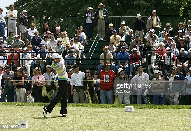 Lorena Ochoa tees off the first hole during the final round of the 2007 Sybase Classic Presented by ShopRite at Upper Montclair Country Club on...