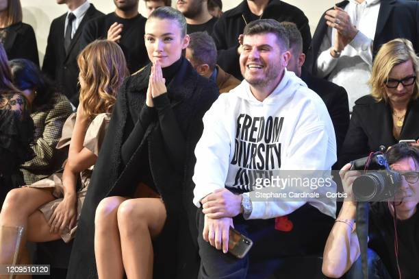 Lorena Rae and a guest attend the Elie Saab show as part of the Paris Fashion Week Womenswear Fall/Winter 2020/2021 on February 29 2020 in Paris...