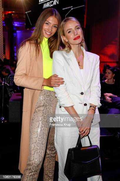 Lorena Rae and Leonie Hanne during the Marc Cain Fashion Show Autumn/Winter 2019 at Deutsche Telekom's representative office on January 15 2019 in...