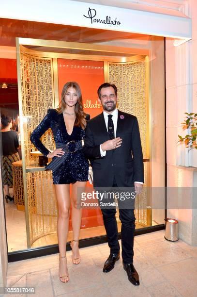 Lorena Rae and Pomellato Global Brand Managing Director Stéphane Gerschel attend the Pomellato store opening with Chiara Ferragni at Pomellato...