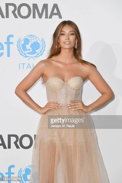 Lorena Rae attends a photocall for the Unicef Summer Gala Presented by Luisaviaroma at Villa Violina on August 10 2018 in Porto Cervo Italy