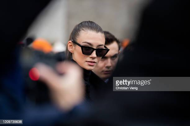 Lorena Rae is seen outside Elie Saab during Paris Fashion Week Womenswear Fall/Winter 2020/2021 Day Six on February 29 2020 in Paris France