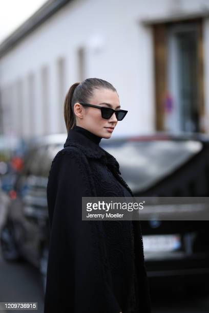 Lorena Rae is seen outside the Elie Saab show during Paris Fashion week Womenswear Fall/Winter 2020/2021 Day Six on February 29 2020 in Paris France