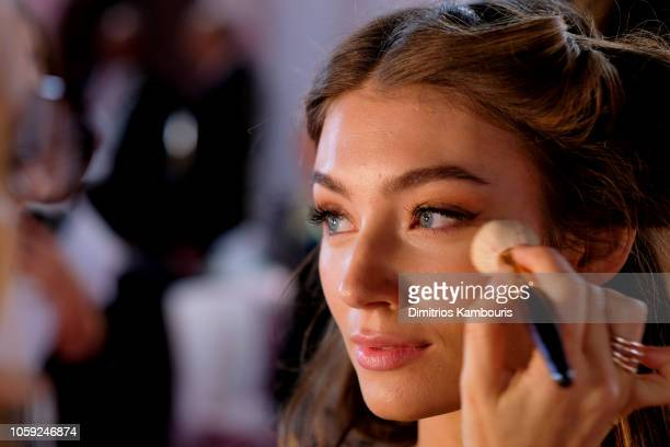 Lorena Rae prepares backstage during 2018 Victoria's Secret Fashion Show in New York at Pier 94 on November 8 2018 in New York City