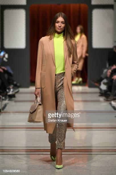 Lorena Rae walks the runway during the Marc Cain Fashion Show Berlin Autumn/Winter 2019 at Deutsche Telekom's representative office on January 15...