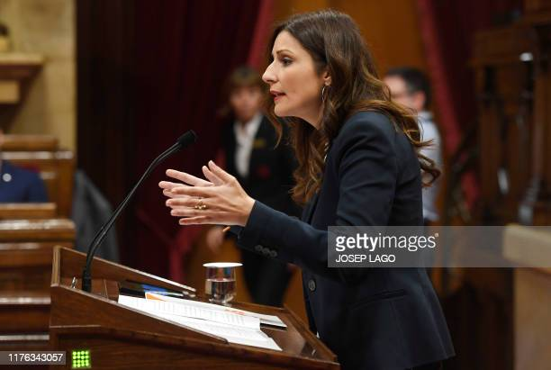 Lorena Roldan leader of the unionist group Ciudadanos in Catalonia addresses the chamber during a plenary session at the Catalan parliament in...