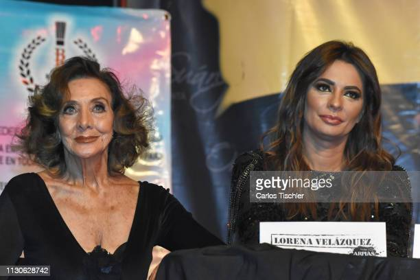 Lorena Velazquez and Cecilia Galliano speaks during the 'Arpias Recargadas' press conference at Teatro Silvia Pinal on February 18 2019 in Mexico...