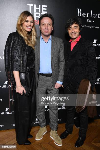 Lorena Vergani Emmanuel Perrotin and Ariel Wizman attend the Hublot and Berluti unveil of two new watches at Hotel D'Evreux on December 4 2017 in...