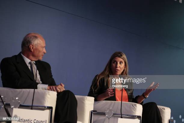 Lorena Zicker general manager of Intel Corp Argentina right speaks while Guillermo Ortiz de Rozas director of Grupo Arcor SA listens during an...