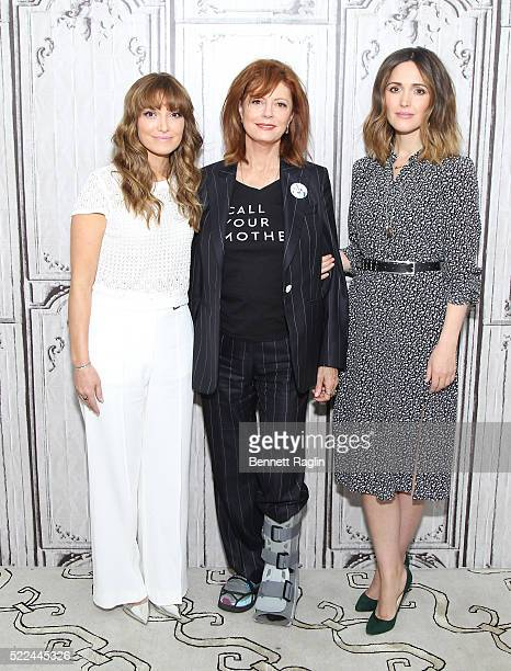Lorene Scafaria Susan Sarandon and Rose Byrne attend the AOL Build Speaker Series at AOL Studios In New York on April 19 2016 in New York City