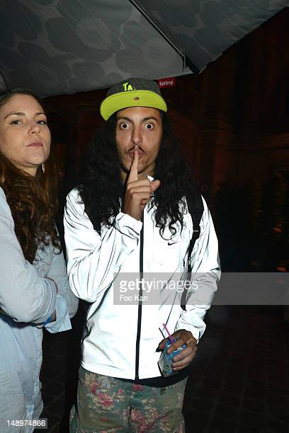 Lorent Idir from Twin Twin band attends Mina Tindle in concert during Fnac Live Festival 2012 at the Parvis De L'Hotel de Ville on July 20, 2012 in...