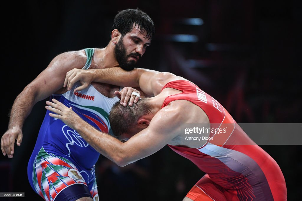 M Lorentz of France and Ghourehjili S during the Men's 130 Kg Greco-Roman competition during the Paris 2017 World Championships at AccorHotels Arena on August 22, 2017 in Paris, France.