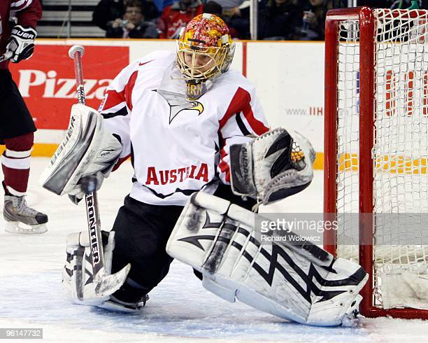 Lorenz Hirn of Team Austria gets down to stop the pcuk during the 2010 IIHF World Junior Championship Tournament Relegation game against Team Latvia...