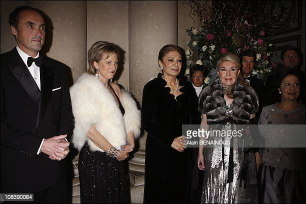 Lorenz of Habsbourg with wife princess Astrid of Belgium Farah Dibah and Nilufer of Turkey in Versailles France on December 04 2006