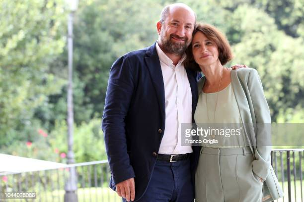Lorenza Indovina and Antonio Albanese attend 'I Topi' Photocall at Casa del Cinema on October 1, 2018 in Rome, Italy.