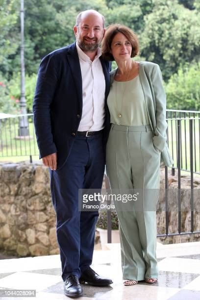 Lorenza Indovina and Antonio Albanese attend 'I Topi' Photocall at Casa del Cinema on October 1 2018 in Rome Italy