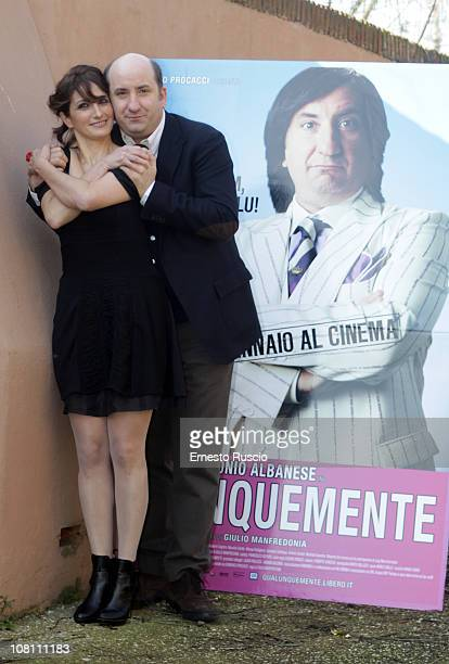 Lorenza Indovina and Antonio Albanse attend the Qualunquemente photocall at Sacher Cinema on January 18 2011 in Rome Italy