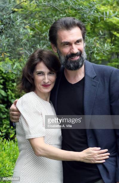 Lorenza Indovina and Fabrizio Gifuni attend a photocall for 'Prima Che La Notte' Rai Fiction at Viale Mazzini on May 21 2018 in Rome Italy