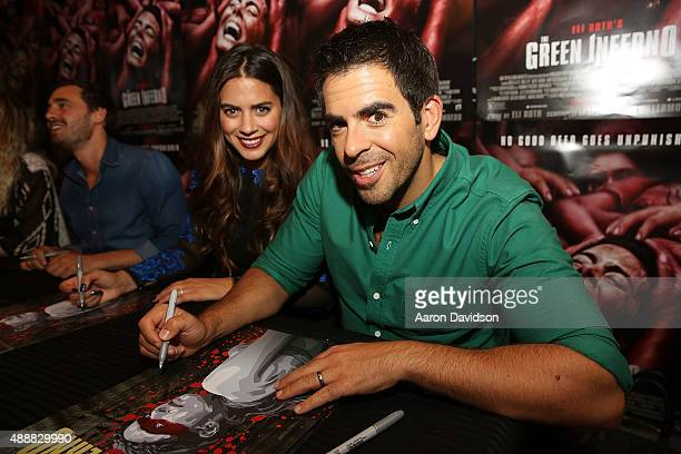 Lorenza Izzo and Eli Roth attend The Green Inferno fan screening at Cocont Grove Theatre on September 17 2015 in Miami Florida