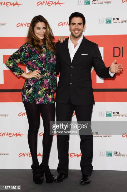 Lorenza Izzo and Eli Roth attends the 'The Green Inferno' Photocall during the 8th Rome Film Festival at the Auditorium Parco Della Musica on...