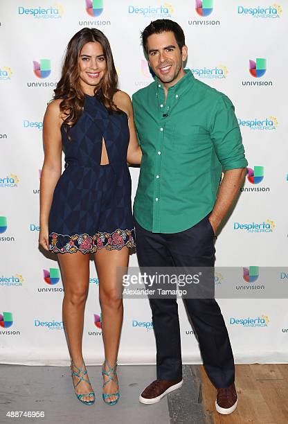 Lorenza Izzo and Eli Roth visit the set of 'Despierta America' to promote his film 'The Green Inferno' at Univision Studios on September 17 2015 in...