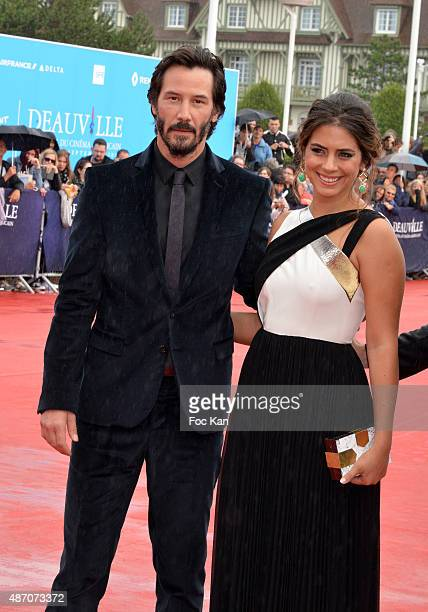 Lorenza Izzo and Keanu Reeves attend the 'Knock Knock' Red Carpet 41st Deauville American Film Festival at the CID on September 5 2015 in Deauville...