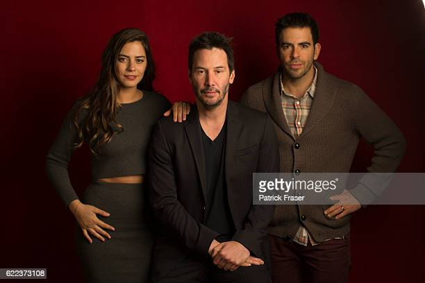 Lorenza Izzo Keanu Reeves and Eli Roth promoting <Knock Knock>