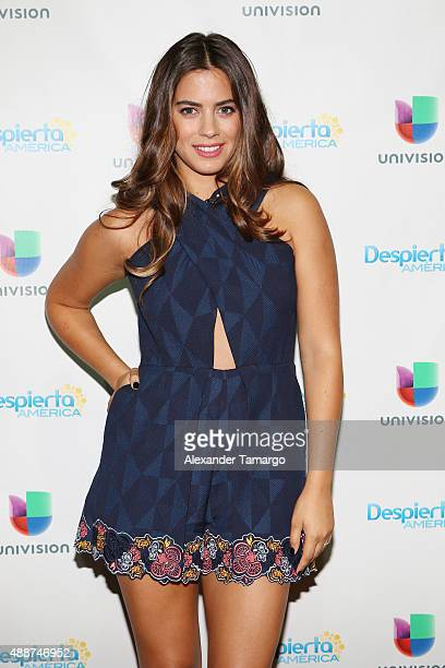 Lorenza Izzo visits the set of 'Despierta America' to promote his film 'The Green Inferno' at Univision Studios on September 17 2015 in Miami Florida
