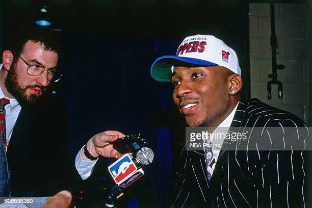 Lorenzen Wright is interviewed after he was drafted by the Los Angeles Clippers on June 26 1996 in East Rutherford New Jersey NOTE TO USER User...